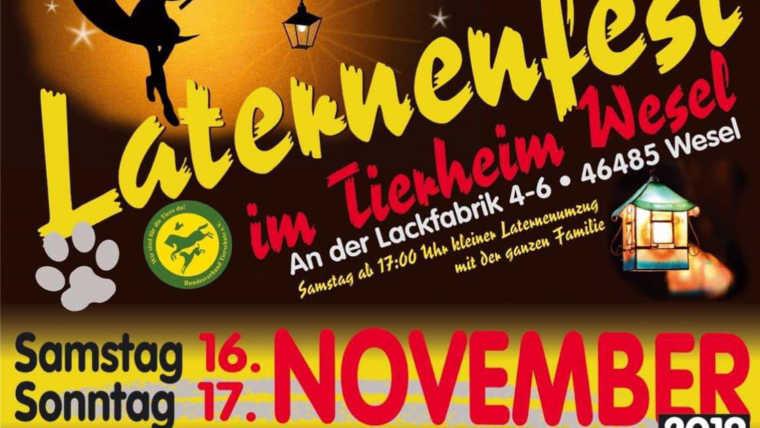 Laternenfest am 16. und 17. November 2019 im Tierheim Wesel